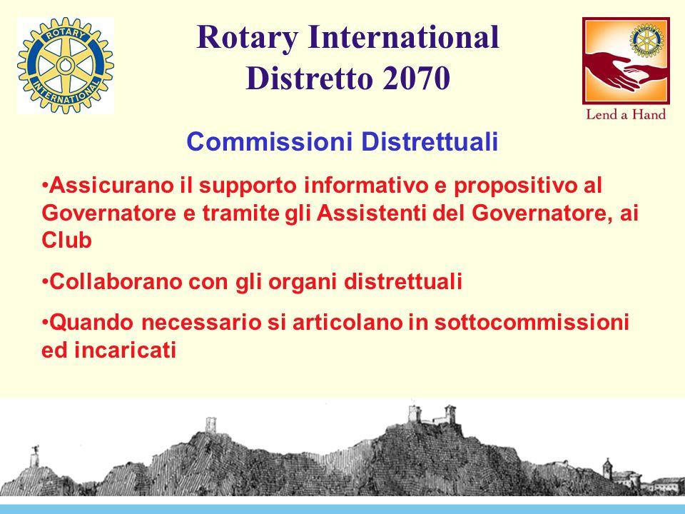 Rotary International Distretto 2070 Commissioni Distrettuali Assicurano il supporto informativo e propositivo al Governatore e tramite gli Assistenti del Governatore, ai Club Collaborano con gli organi distrettuali Quando necessario si articolano in sottocommissioni ed incaricati