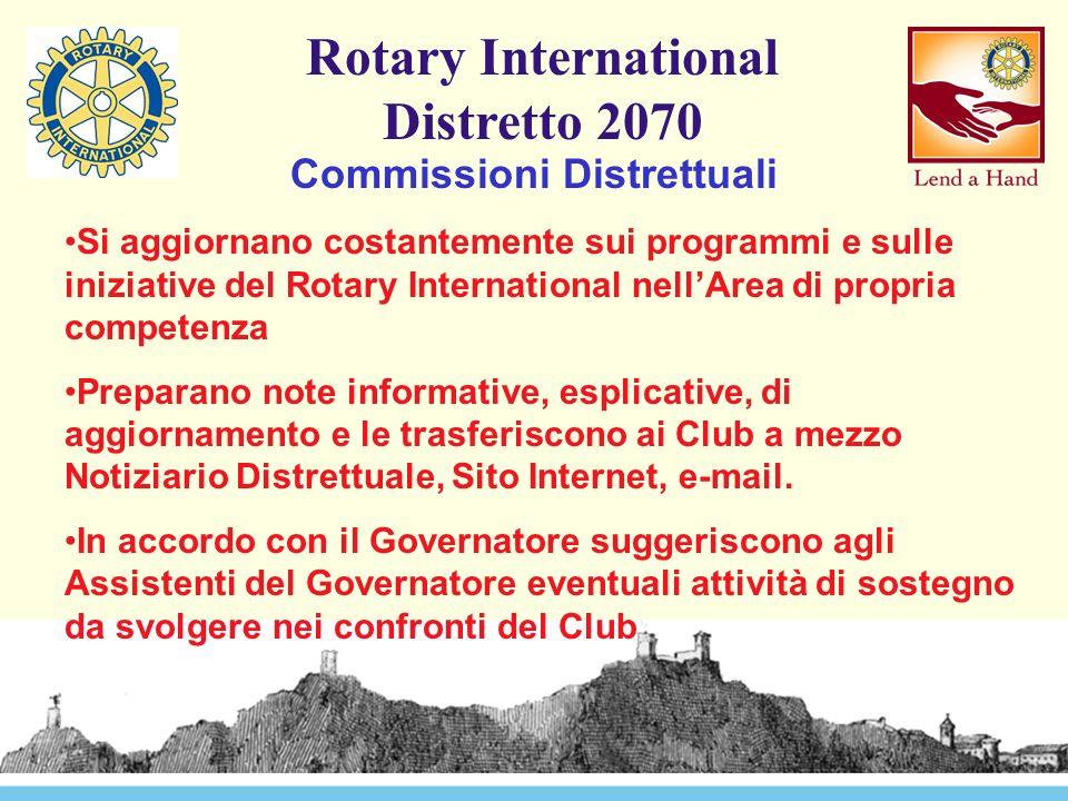 Rotary International Distretto 2070 Commissioni Distrettuali Si aggiornano costantemente sui programmi e sulle iniziative del Rotary International nell'Area di propria competenza Preparano note informative, esplicative, di aggiornamento e le trasferiscono ai Club a mezzo Notiziario Distrettuale, Sito Internet, e-mail.