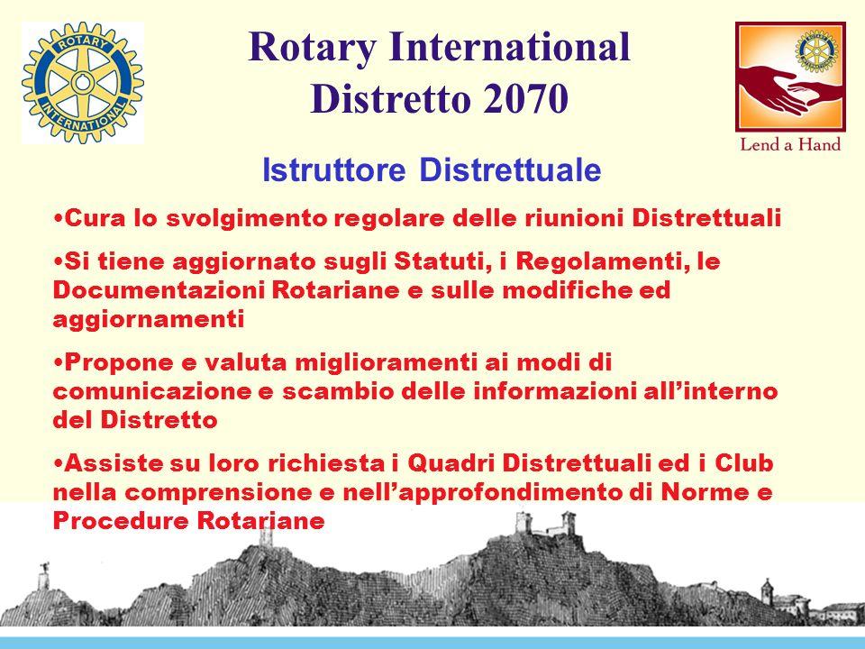 Rotary International Distretto 2070 Istruttore Distrettuale Cura lo svolgimento regolare delle riunioni Distrettuali Si tiene aggiornato sugli Statuti, i Regolamenti, le Documentazioni Rotariane e sulle modifiche ed aggiornamenti Propone e valuta miglioramenti ai modi di comunicazione e scambio delle informazioni all'interno del Distretto Assiste su loro richiesta i Quadri Distrettuali ed i Club nella comprensione e nell'approfondimento di Norme e Procedure Rotariane