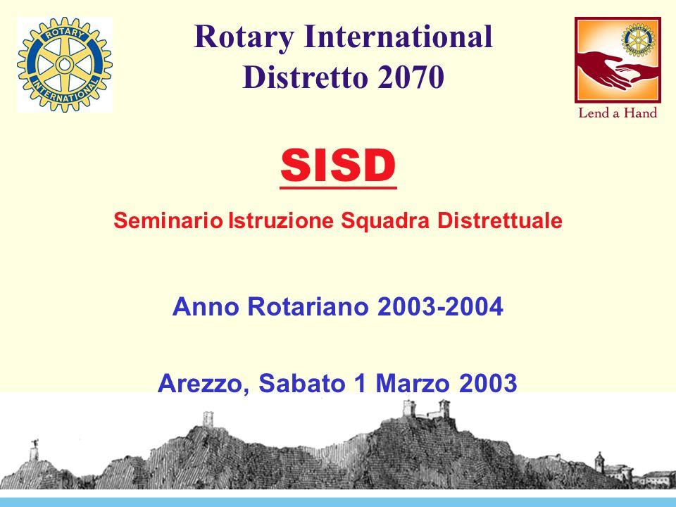 Rotary International Distretto 2070 Anno dedicato alla FORMAZIONE Quarto anno di applicazione PDD Focalizzazione alla formazione in seno al Club Continuità di attività - obiettivi a livello della Squadra Distrettuale