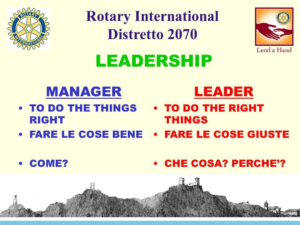 Rotary International Distretto 2070 MANAGER TO DO THE THINGS RIGHT FARE LE COSE BENE COME.