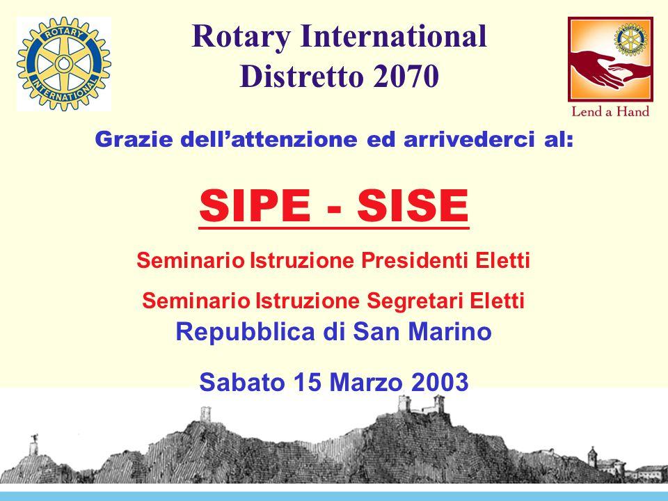 Rotary International Distretto 2070 Grazie dell'attenzione ed arrivederci al: SIPE - SISE Seminario Istruzione Presidenti Eletti Seminario Istruzione Segretari Eletti Repubblica di San Marino Sabato 15 Marzo 2003