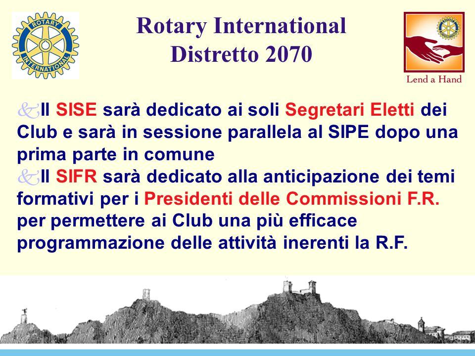 Rotary International Distretto 2070 kIl SISE sarà dedicato ai soli Segretari Eletti dei Club e sarà in sessione parallela al SIPE dopo una prima parte in comune kIl SIFR sarà dedicato alla anticipazione dei temi formativi per i Presidenti delle Commissioni F.R.
