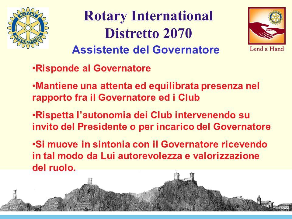 Rotary International Distretto 2070 Assistente del Governatore Promuove e cura l'efficienza e l'efficacia dei rapporti tra il Governatore ed i Club a lui assegnati.