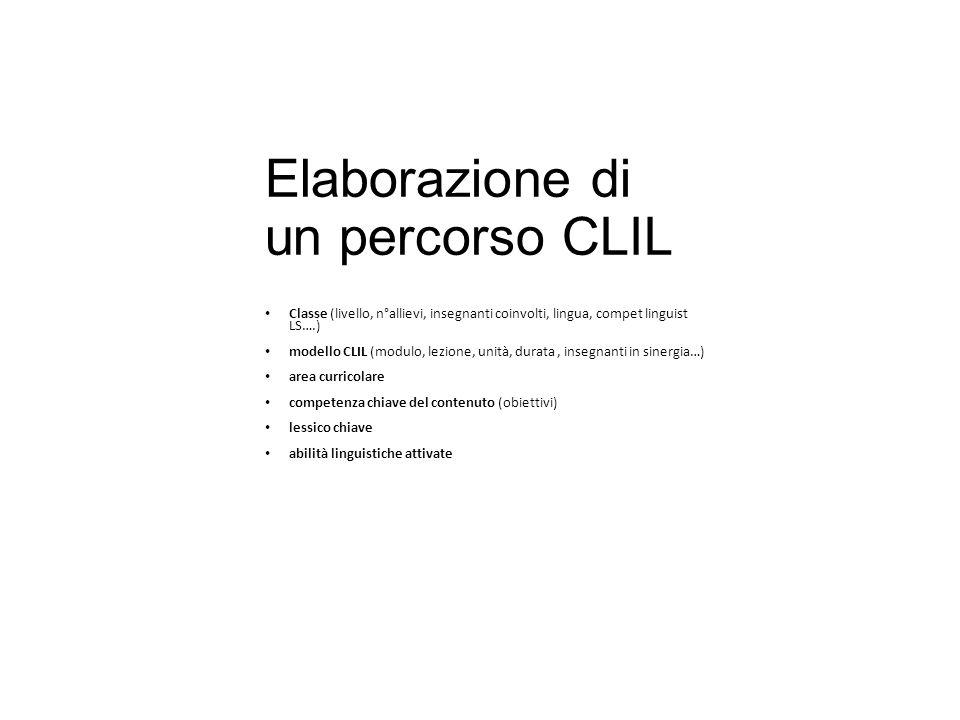Elaborazione di un percorso CLIL Classe (livello, n°allievi, insegnanti coinvolti, lingua, compet linguist LS….) modello CLIL (modulo, lezione, unità,