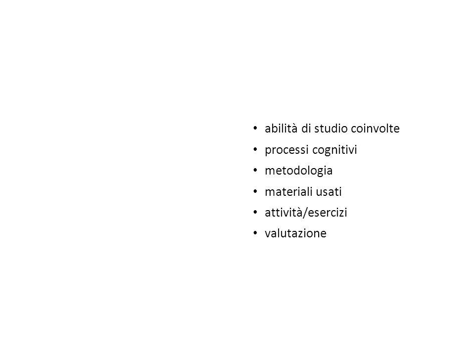 abilità di studio coinvolte processi cognitivi metodologia materiali usati attività/esercizi valutazione