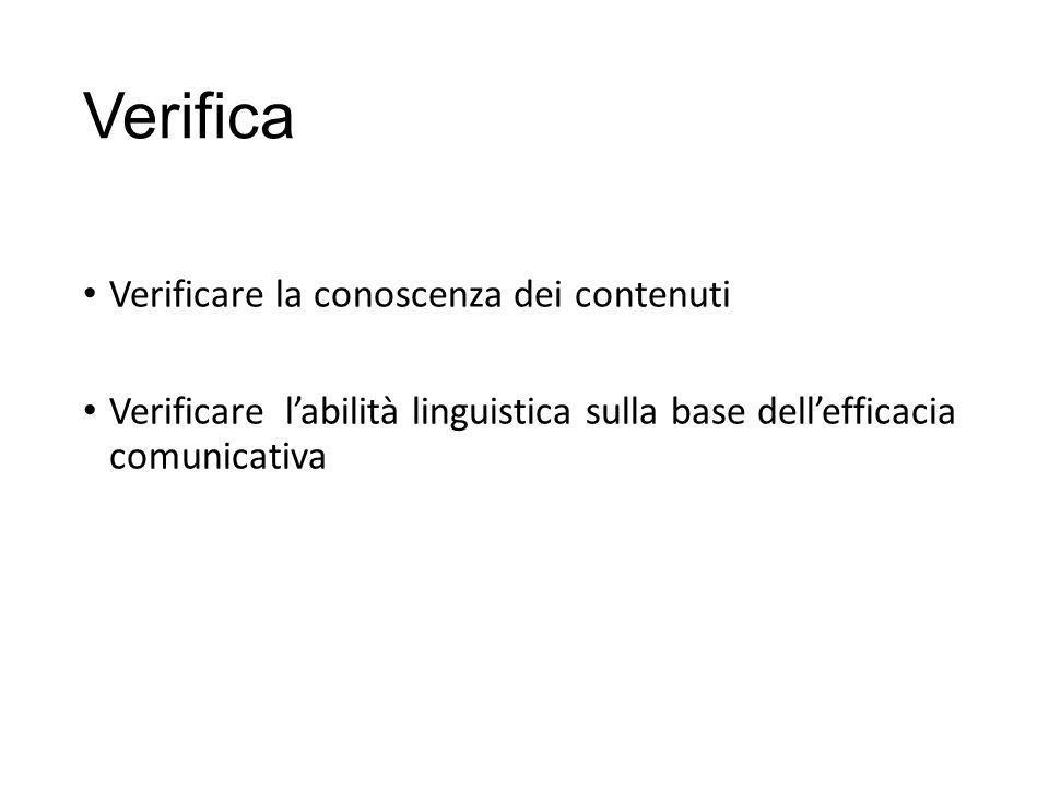 Verifica Verificare la conoscenza dei contenuti Verificare l'abilità linguistica sulla base dell'efficacia comunicativa
