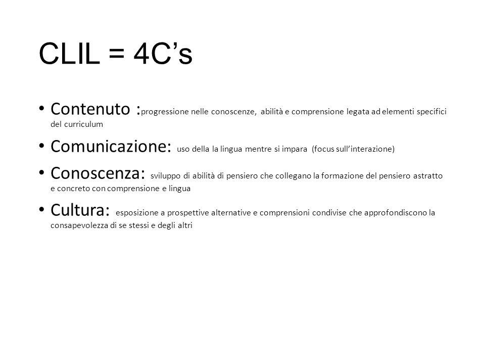 CLIL = 4C's Contenuto : progressione nelle conoscenze, abilità e comprensione legata ad elementi specifici del curriculum Comunicazione: uso della la