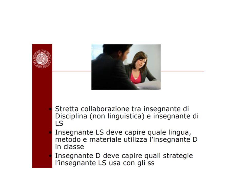 Modalità di insegnamento Apprendimento collaborativo e cooperativo A coppie A gruppi Metodologia basata sul compito (task) dove gli allievi producono in modo autonomo