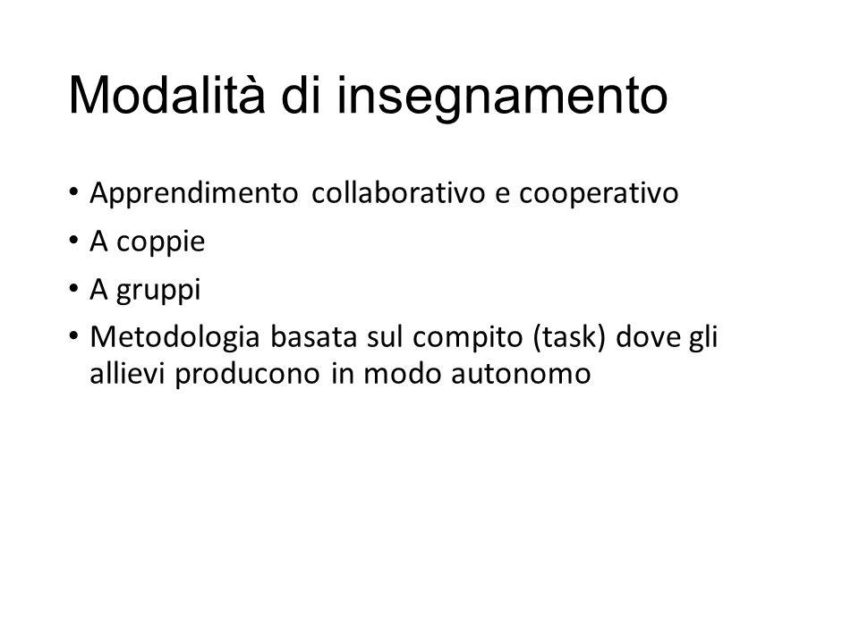 Modalità di insegnamento Apprendimento collaborativo e cooperativo A coppie A gruppi Metodologia basata sul compito (task) dove gli allievi producono