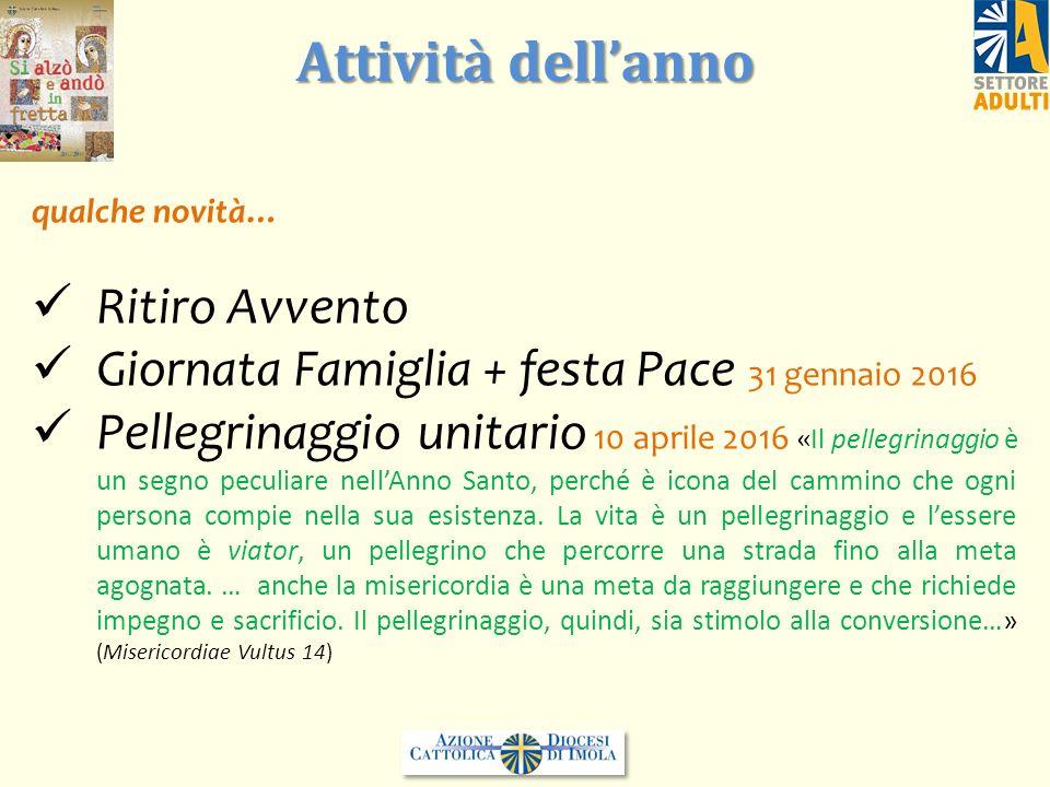 qualche novità… Ritiro Avvento Giornata Famiglia + festa Pace 31 gennaio 2016 Pellegrinaggio unitario 10 aprile 2016 «Il pellegrinaggio è un segno pec