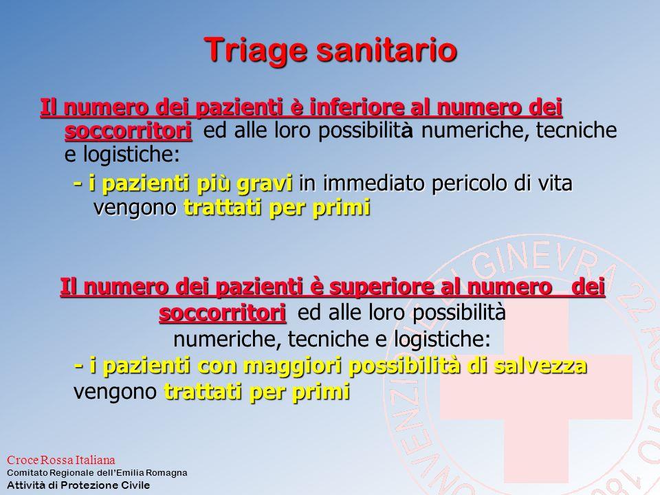 Croce Rossa Italiana Comitato Regionale dell'Emilia Romagna Attività di Protezione Civile 3: Triage in cantiere Suddivisione delle vittime in tre categorie U.P.codice verde U.P.