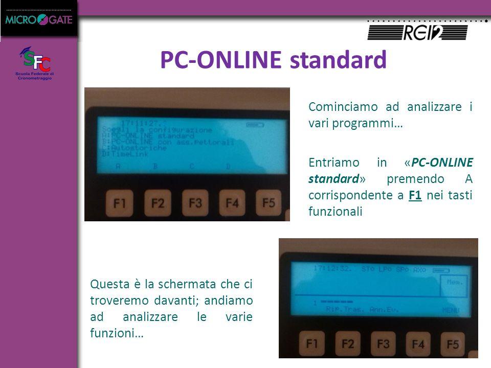 PC-ONLINE standard Cominciamo ad analizzare i vari programmi… Entriamo in «PC-ONLINE standard» premendo A corrispondente a F1 nei tasti funzionali Questa è la schermata che ci troveremo davanti; andiamo ad analizzare le varie funzioni…
