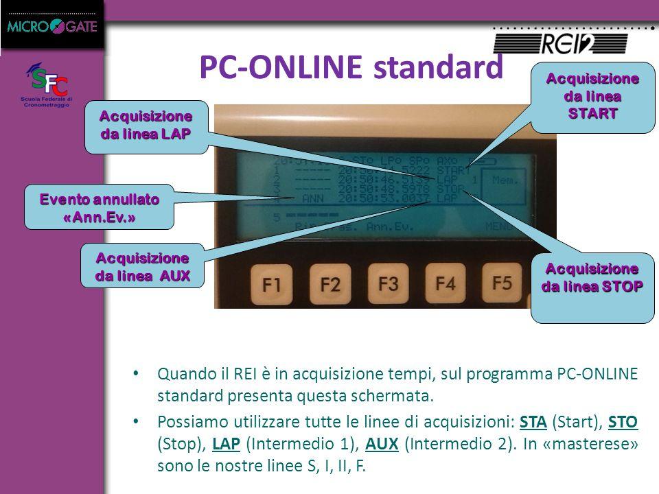 PC-ONLINE standard Quando il REI è in acquisizione tempi, sul programma PC-ONLINE standard presenta questa schermata.