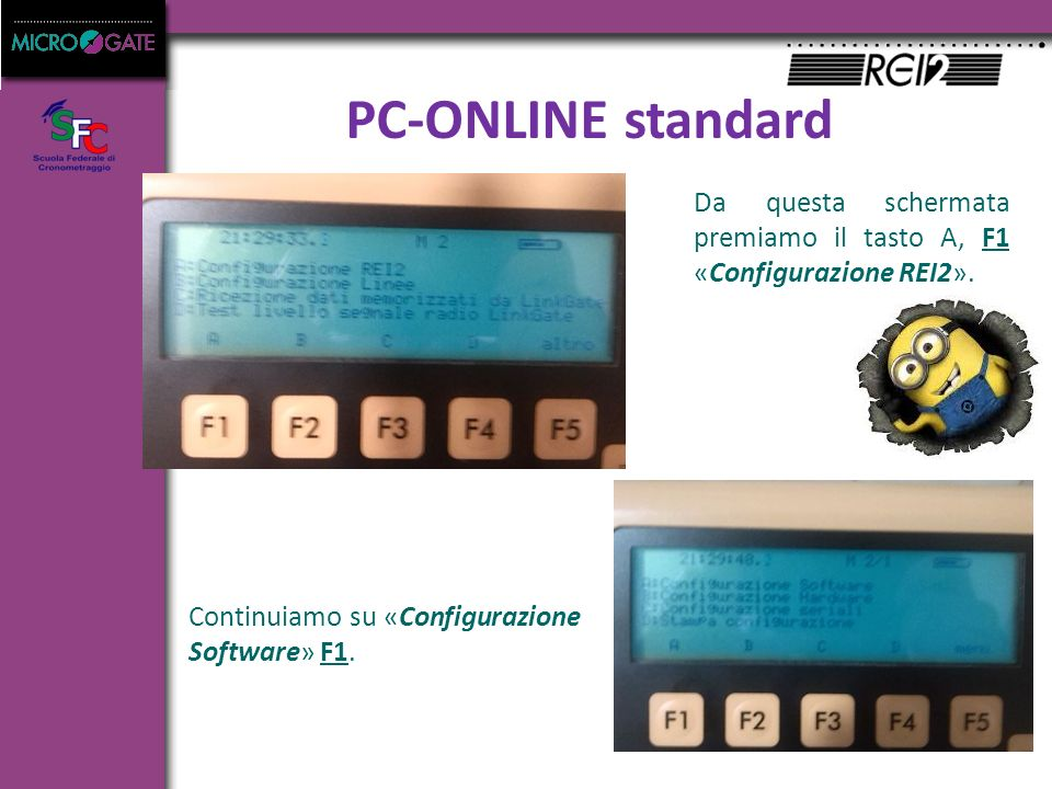 PC-ONLINE standard Da questa schermata premiamo il tasto A, F1 «Configurazione REI2».