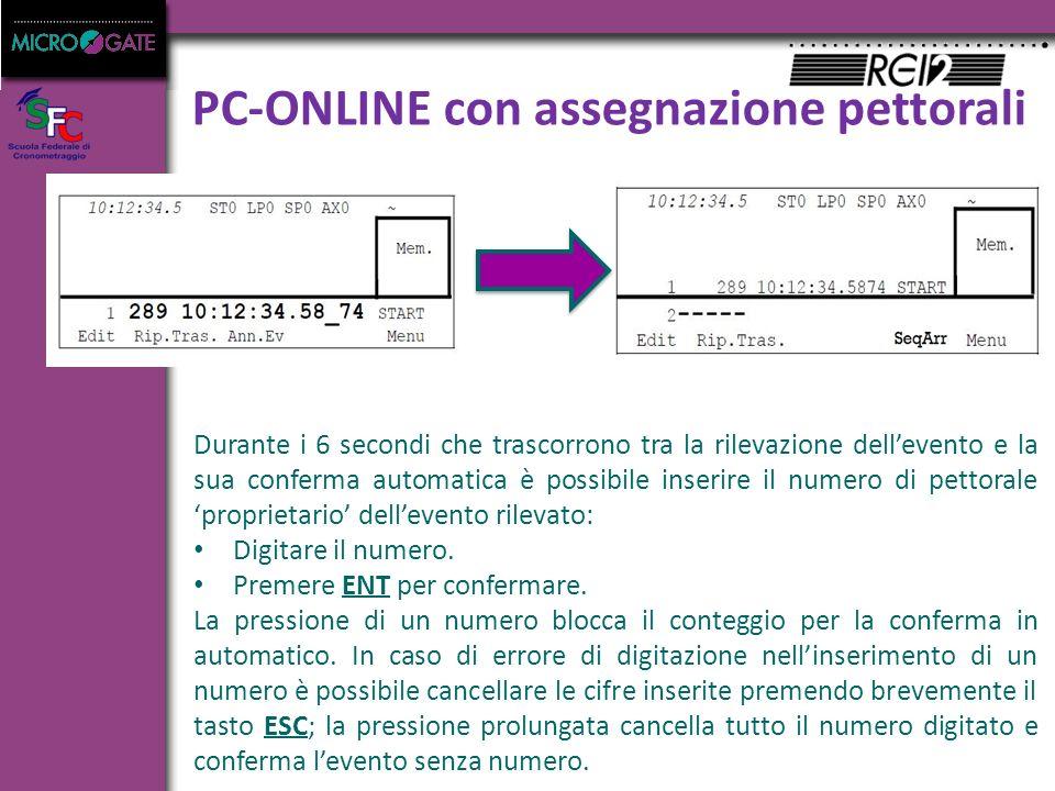 PC-ONLINE con assegnazione pettorali Durante i 6 secondi che trascorrono tra la rilevazione dell'evento e la sua conferma automatica è possibile inserire il numero di pettorale 'proprietario' dell'evento rilevato: Digitare il numero.