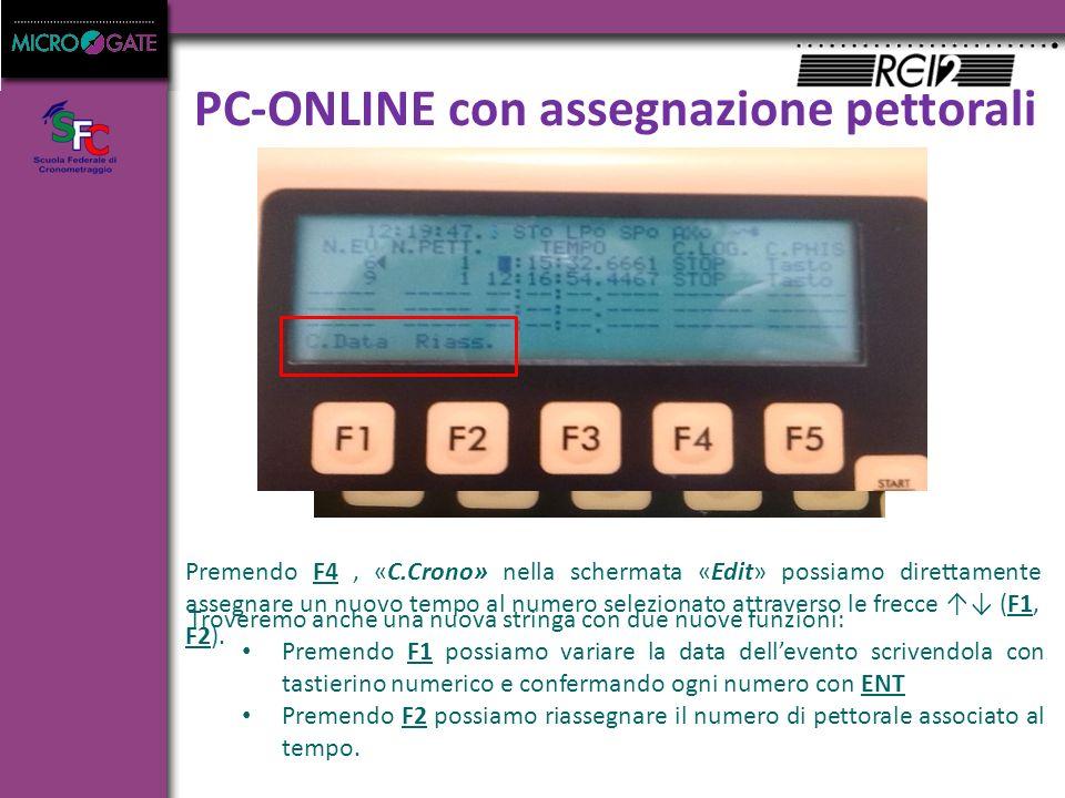 PC-ONLINE con assegnazione pettorali Premendo F4, «C.Crono» nella schermata «Edit» possiamo direttamente assegnare un nuovo tempo al numero selezionato attraverso le frecce ↑↓ (F1, F2).
