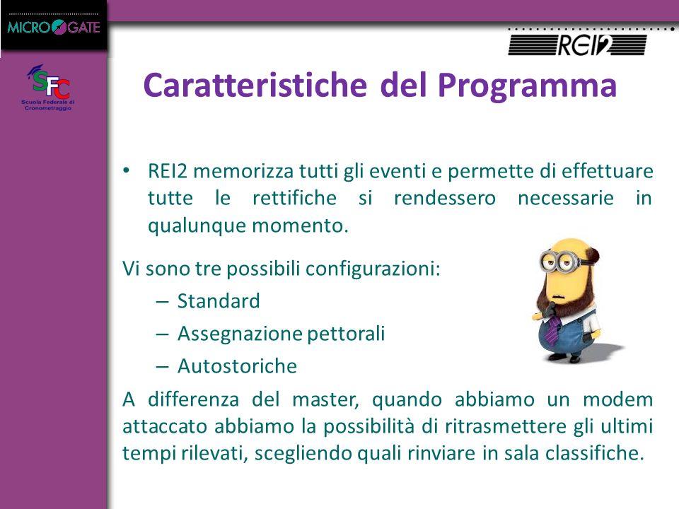 Caratteristiche del Programma REI2 memorizza tutti gli eventi e permette di effettuare tutte le rettifiche si rendessero necessarie in qualunque momento.
