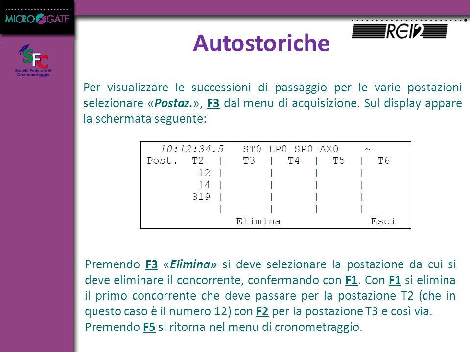 Autostoriche Per visualizzare le successioni di passaggio per le varie postazioni selezionare «Postaz.», F3 dal menu di acquisizione.