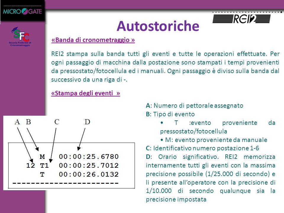 Autostoriche «Banda di cronometraggio » «Stampa degli eventi » REI2 stampa sulla banda tutti gli eventi e tutte le operazioni effettuate.