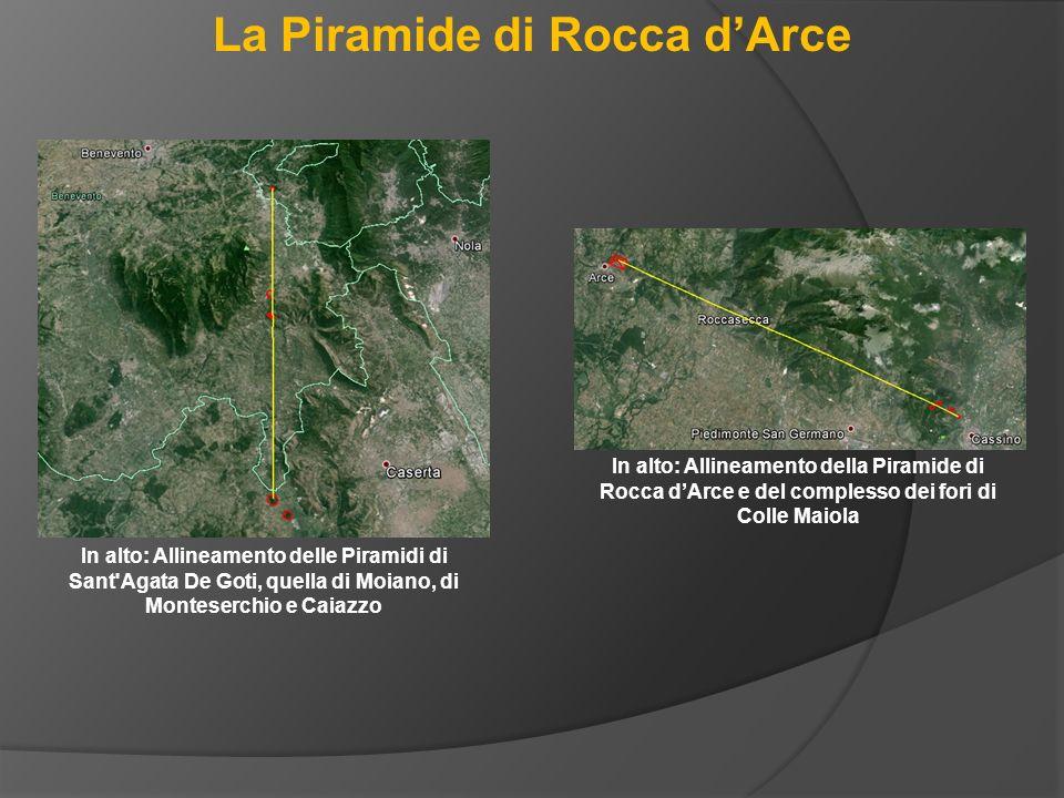 La Piramide di Rocca d'Arce In alto: Allineamento delle Piramidi di Sant'Agata De Goti, quella di Moiano, di Monteserchio e Caiazzo In alto: Allineame
