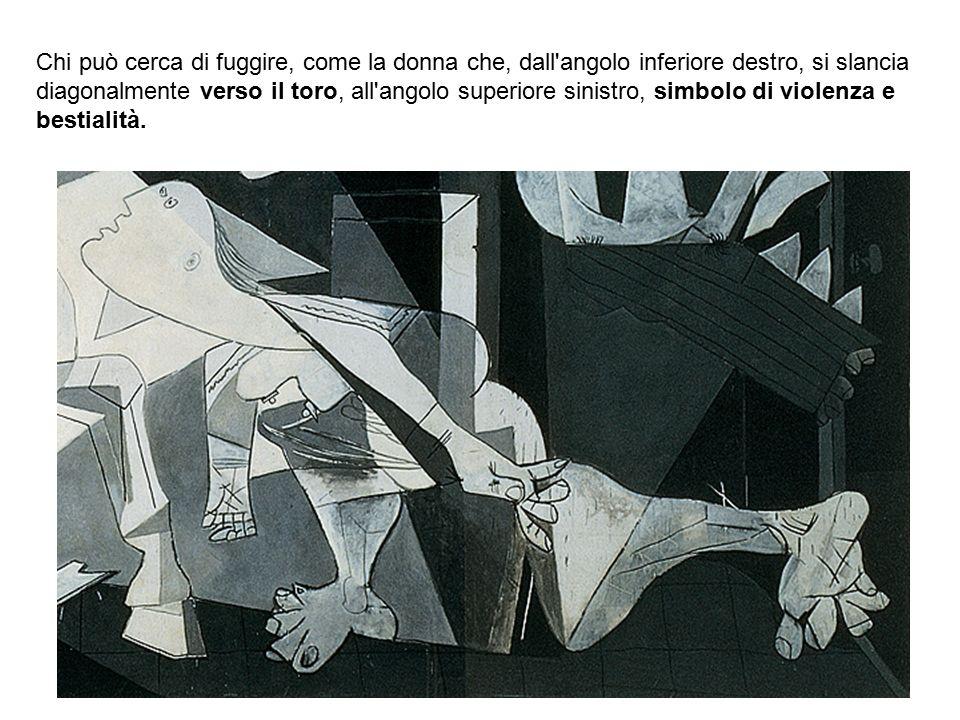 Bianca Vitale - Picasso17 Chi può cerca di fuggire, come la donna che, dall'angolo inferiore destro, si slancia diagonalmente verso il toro, all'angol