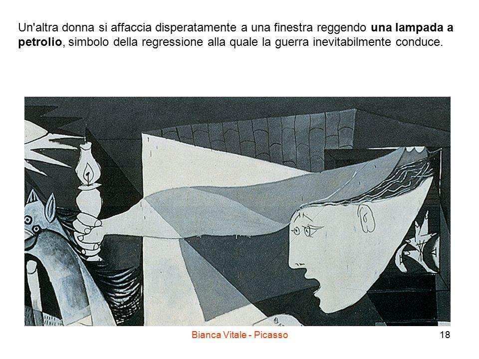 Bianca Vitale - Picasso18 Un'altra donna si affaccia disperatamente a una finestra reggendo una lampada a petrolio, simbolo della regressione alla qua