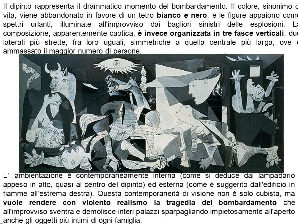 Bianca Vitale - Picasso2 Il dipinto rappresenta il drammatico momento del bombardamento. Il colore, sinonimo di vita, viene abbandonato in favore di u