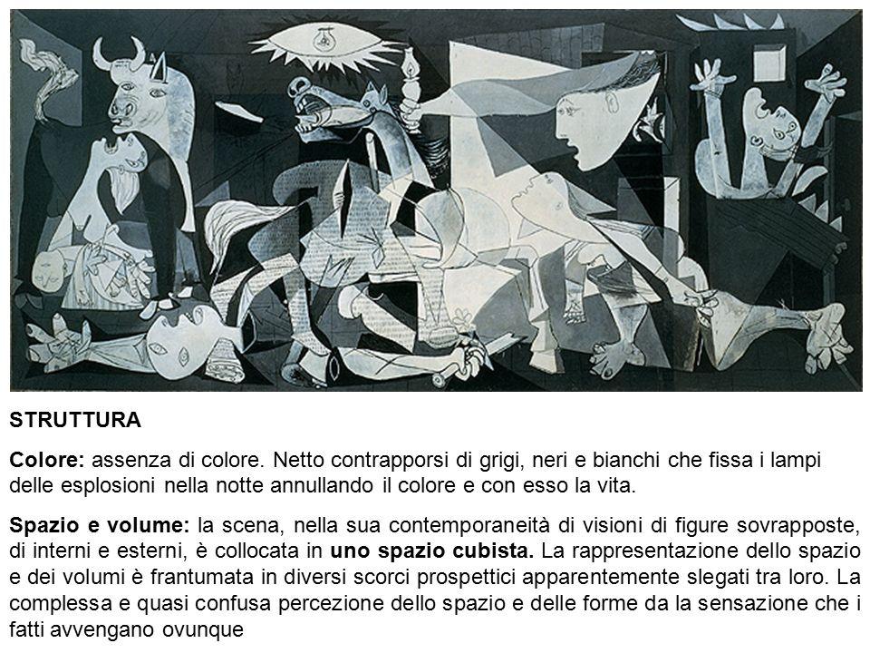 Bianca Vitale - Picasso21 STRUTTURA Colore: assenza di colore. Netto contrapporsi di grigi, neri e bianchi che fissa i lampi delle esplosioni nella no