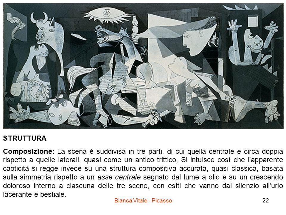 Bianca Vitale - Picasso22 STRUTTURA Composizione: La scena è suddivisa in tre parti, di cui quella centrale è circa doppia rispetto a quelle laterali,