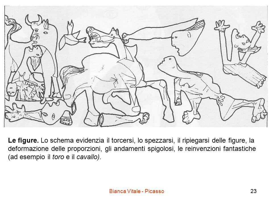 Bianca Vitale - Picasso23 Le figure. Lo schema evidenzia il torcersi, lo spezzarsi, il ripiegarsi delle figure, la deformazione delle proporzioni, gli