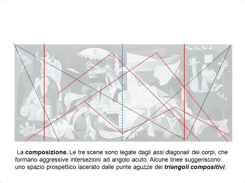 Bianca Vitale - Picasso3 La composizione. Le tre scene sono legate dagli assi diagonali dei corpi, che formano aggressive intersezioni ad angolo acuto