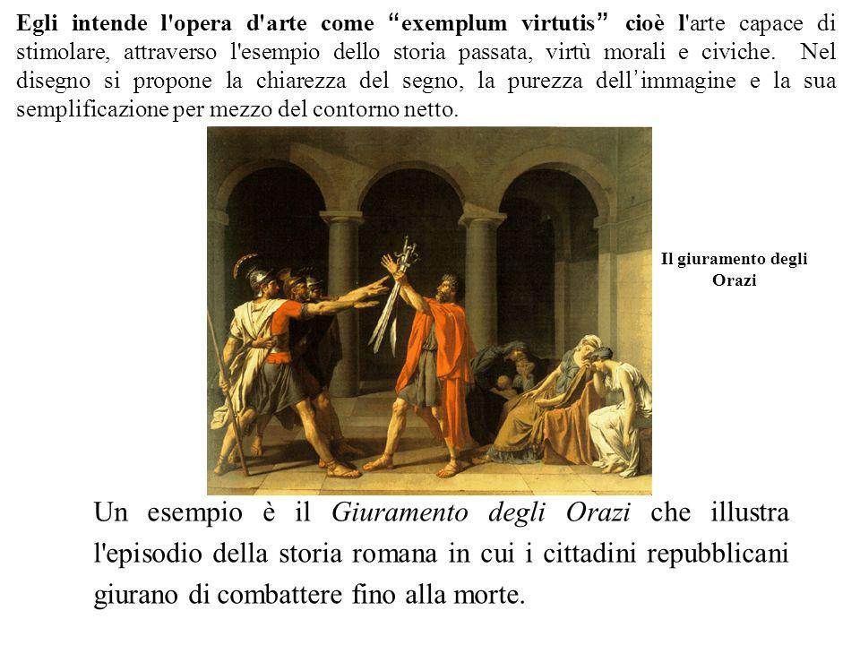 Il giuramento degli Orazi Un esempio è il Giuramento degli Orazi che illustra l episodio della storia romana in cui i cittadini repubblicani giurano di combattere fino alla morte.
