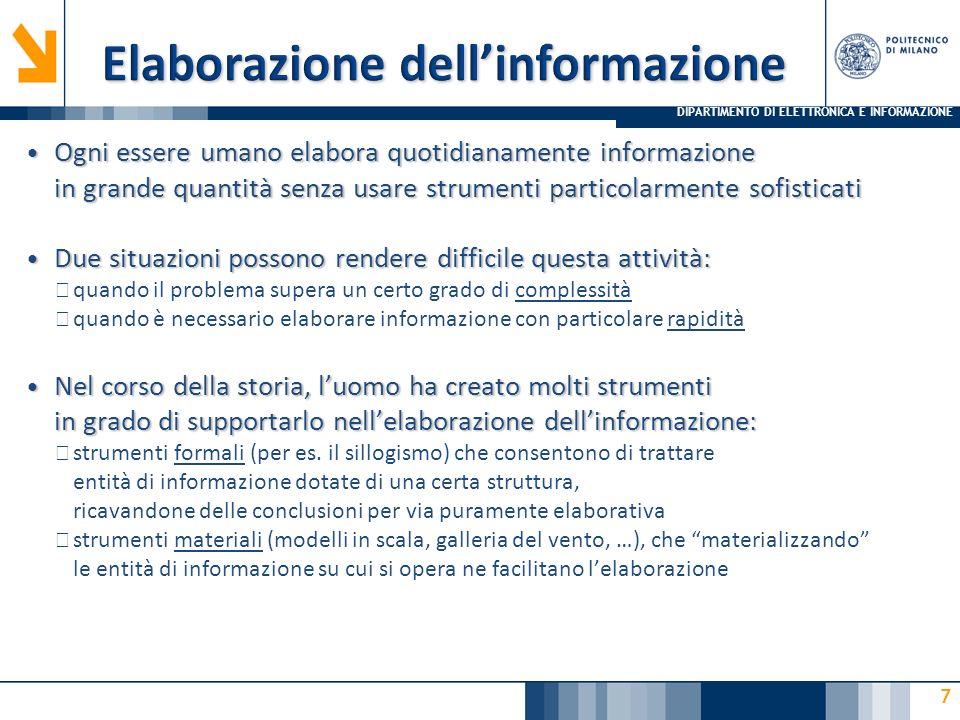 DIPARTIMENTO DI ELETTRONICA E INFORMAZIONE 18 Fonti per lo studio Fonti per lo studio ▶ Informatica arte e mestiere, S.