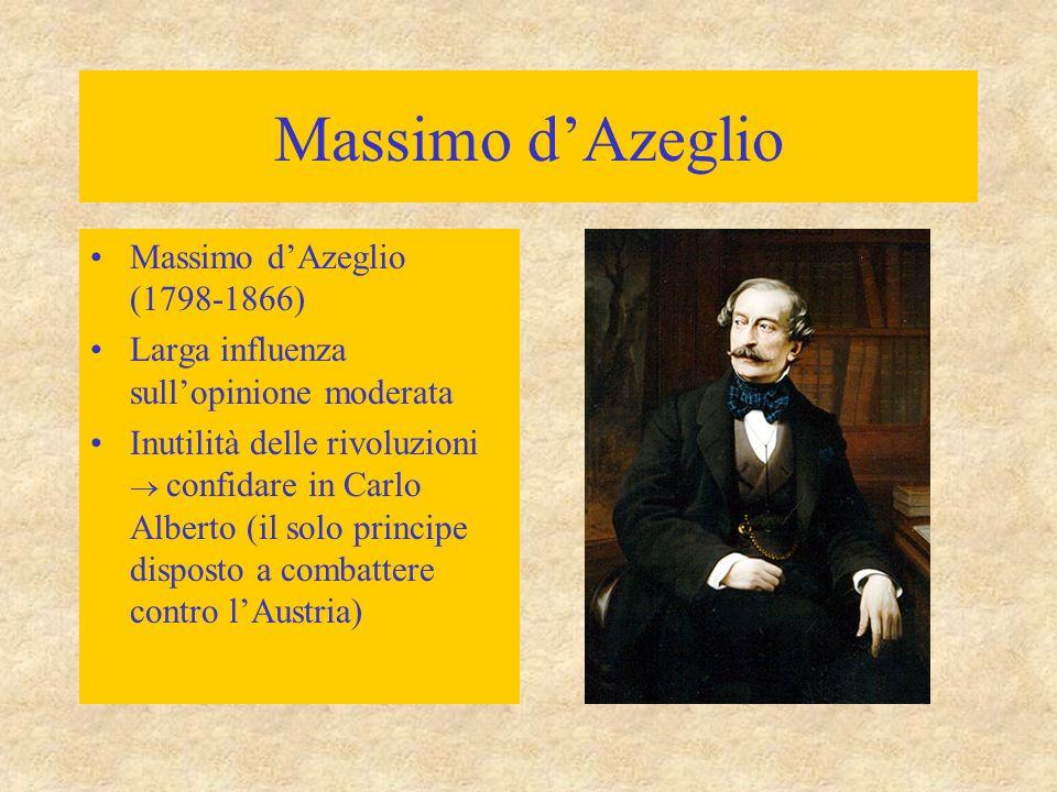 Massimo d'Azeglio Massimo d'Azeglio (1798-1866) Larga influenza sull'opinione moderata Inutilità delle rivoluzioni  confidare in Carlo Alberto (il so