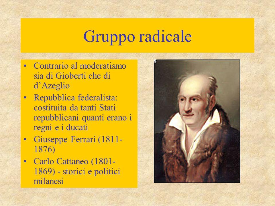 Gruppo radicale Contrario al moderatismo sia di Gioberti che di d'Azeglio Repubblica federalista: costituita da tanti Stati repubblicani quanti erano