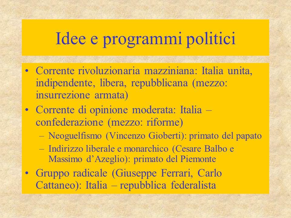 Idee e programmi politici Corrente rivoluzionaria mazziniana: Italia unita, indipendente, libera, repubblicana (mezzo: insurrezione armata) Corrente d