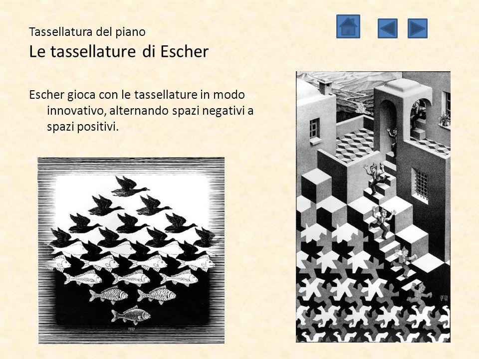 Tassellatura del piano Le tassellature di Escher Escher gioca con le tassellature in modo innovativo, alternando spazi negativi a spazi positivi.