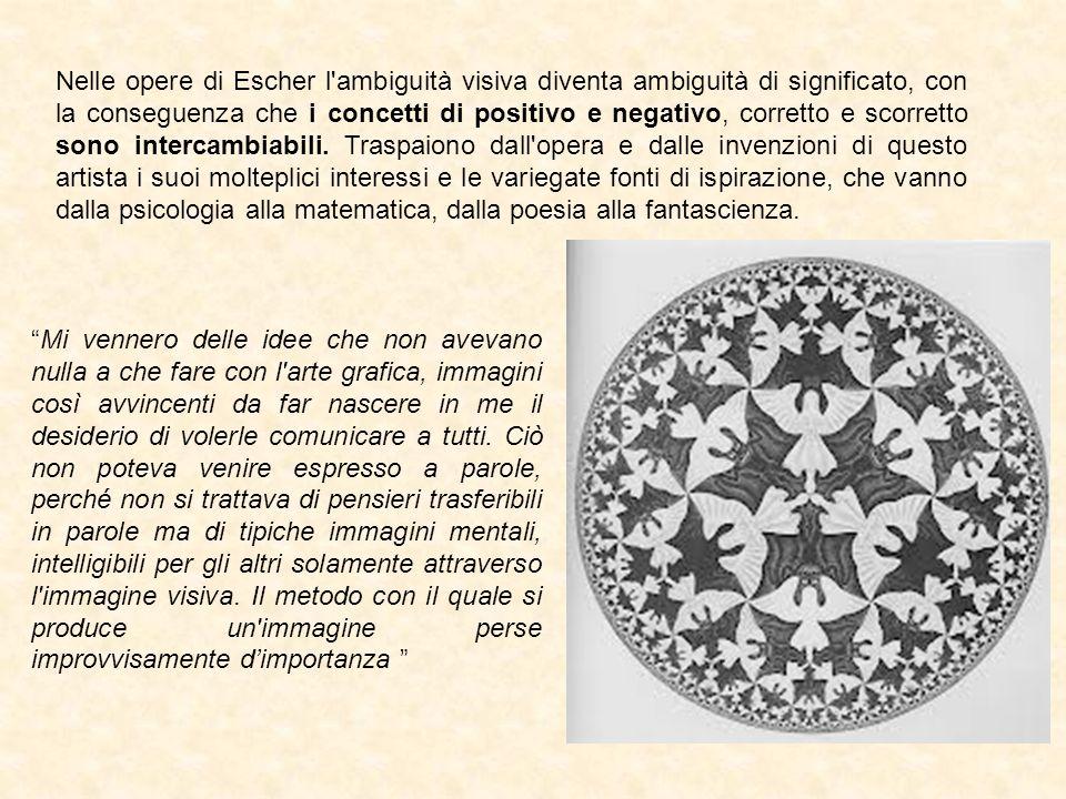 Nelle opere di Escher l'ambiguità visiva diventa ambiguità di significato, con la conseguenza che i concetti di positivo e negativo, corretto e scorre