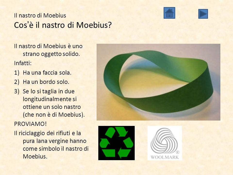 Il nastro di Moebius Cos'è il nastro di Moebius? Il nastro di Moebius è uno strano oggetto solido. Infatti: 1)Ha una faccia sola. 2)Ha un bordo solo.