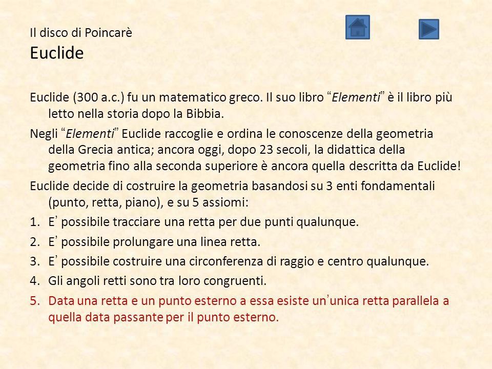 """Il disco di Poincarè Euclide Euclide (300 a.c.) fu un matematico greco. Il suo libro """"Elementi"""" è il libro più letto nella storia dopo la Bibbia. Negl"""