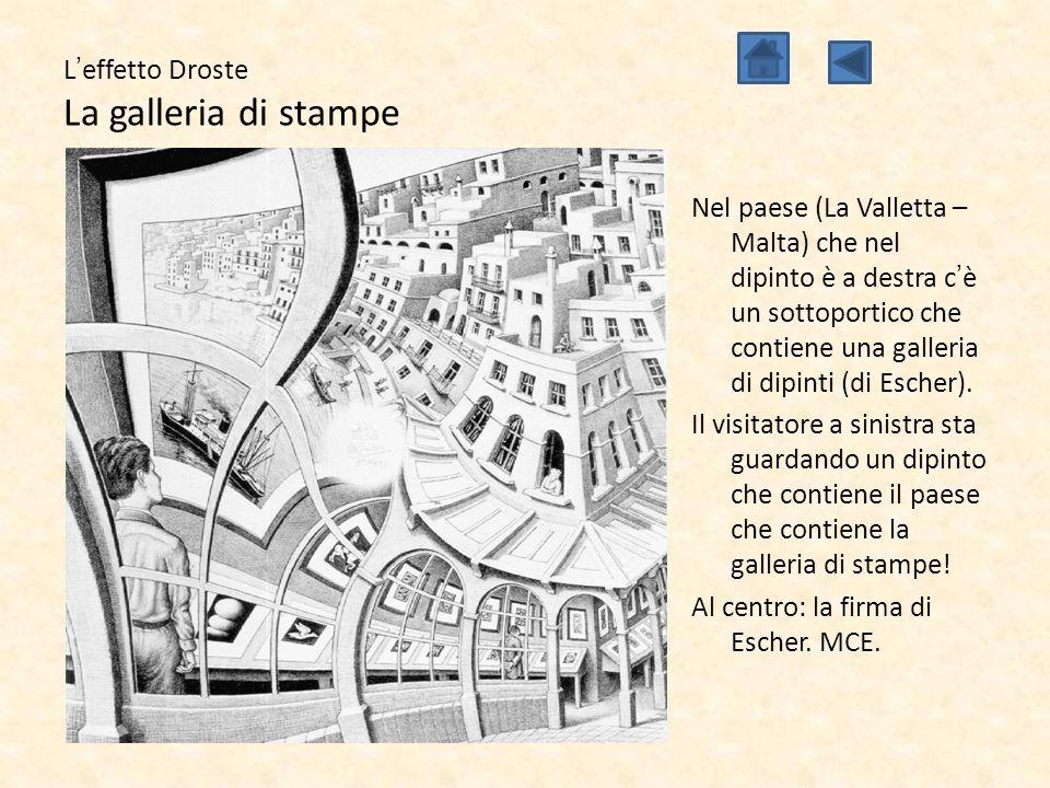 L'effetto Droste La galleria di stampe Nel paese (La Valletta – Malta) che nel dipinto è a destra c'è un sottoportico che contiene una galleria di dip