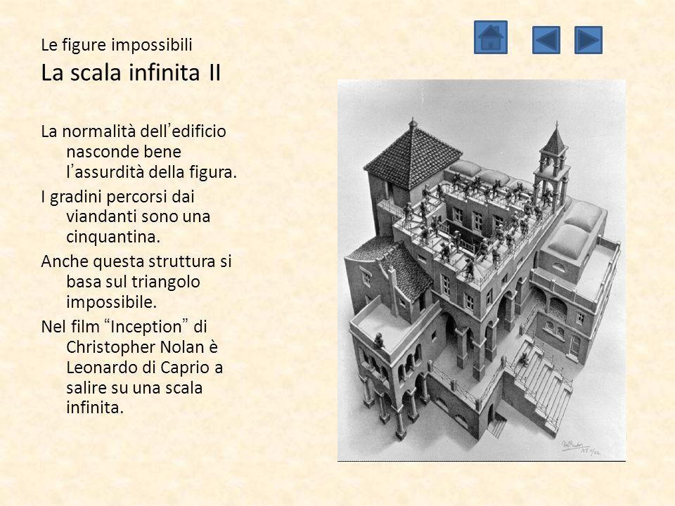 Le figure impossibili La scala infinita II La normalità dell'edificio nasconde bene l'assurdità della figura. I gradini percorsi dai viandanti sono un