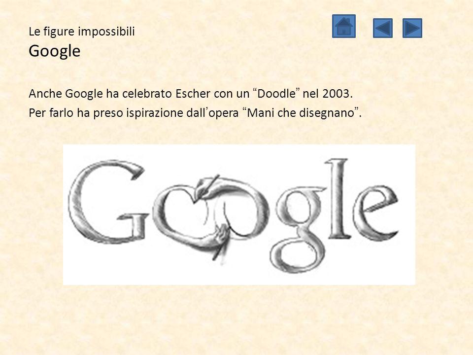 """Le figure impossibili Google Anche Google ha celebrato Escher con un """"Doodle"""" nel 2003. Per farlo ha preso ispirazione dall'opera """"Mani che disegnano"""""""