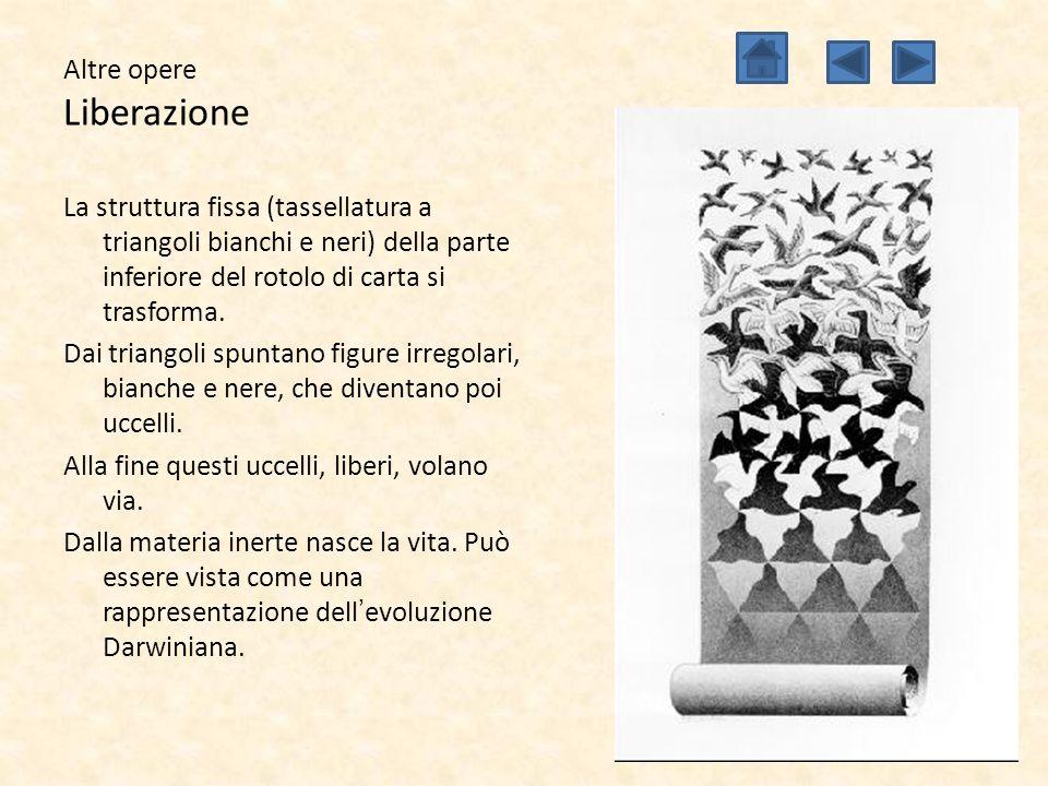 Altre opere Liberazione La struttura fissa (tassellatura a triangoli bianchi e neri) della parte inferiore del rotolo di carta si trasforma. Dai trian