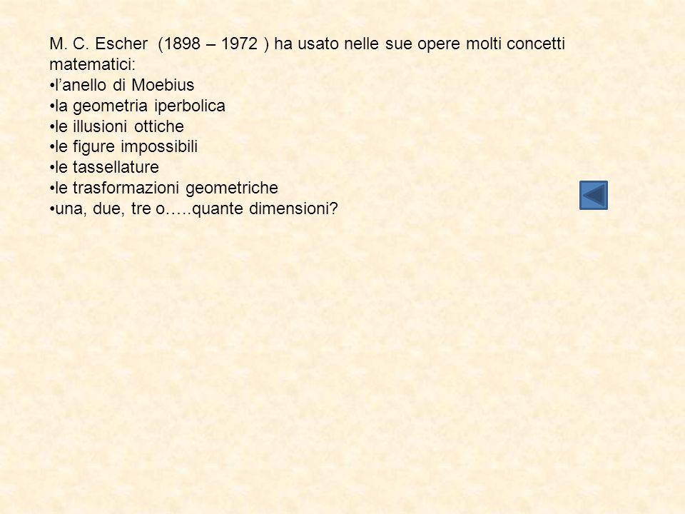 M. C. Escher (1898 – 1972 ) ha usato nelle sue opere molti concetti matematici: l'anello di Moebius la geometria iperbolica le illusioni ottiche le fi