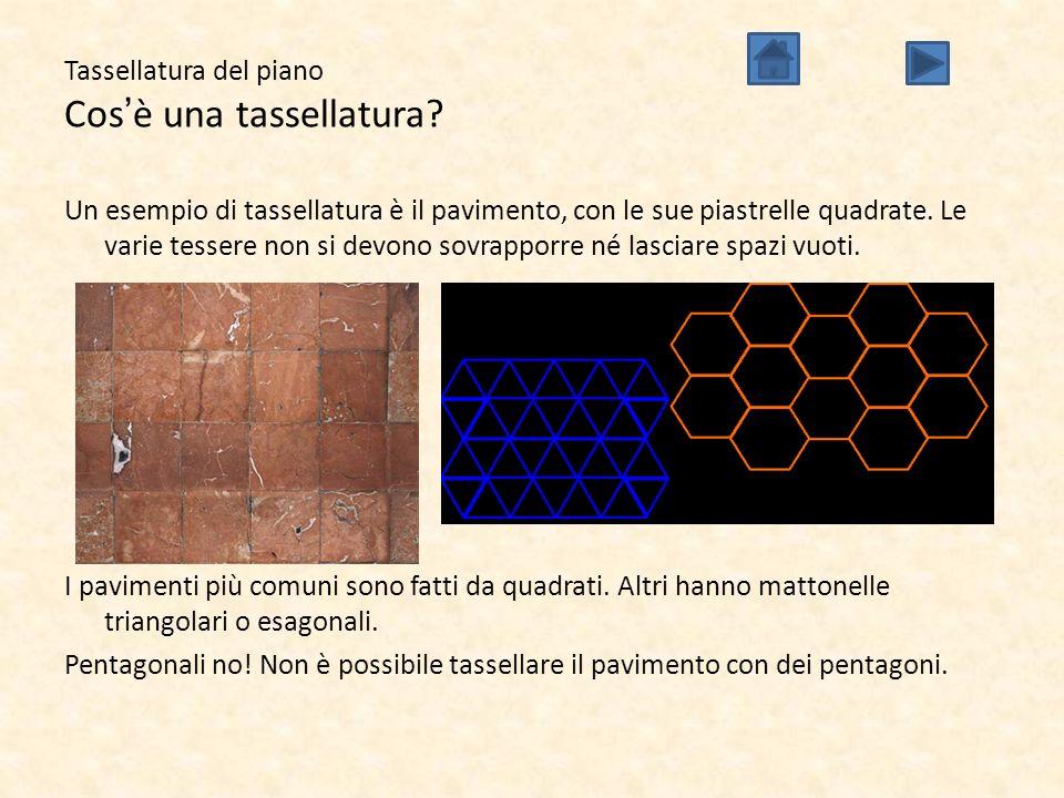 Tassellatura del piano Cos'è una tassellatura? Un esempio di tassellatura è il pavimento, con le sue piastrelle quadrate. Le varie tessere non si devo