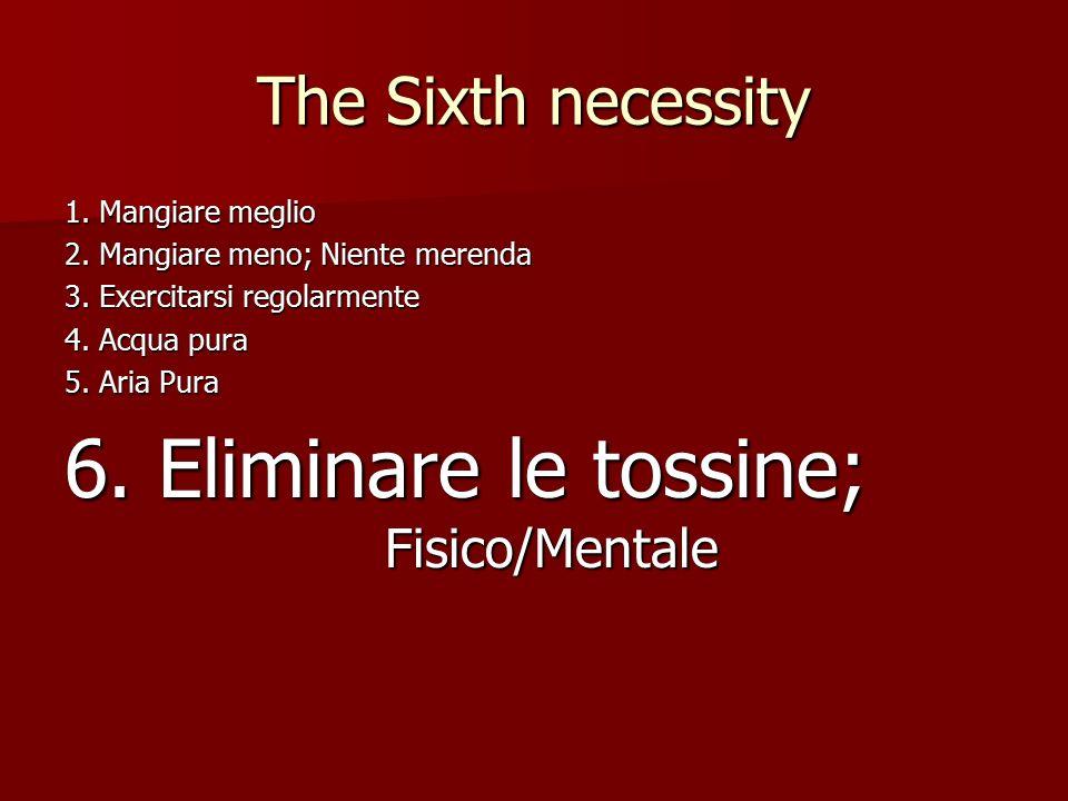 The Sixth necessity 1. Mangiare meglio 2. Mangiare meno; Niente merenda 3.