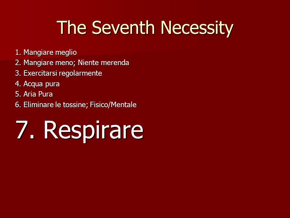 The Seventh Necessity 1. Mangiare meglio 2. Mangiare meno; Niente merenda 3.