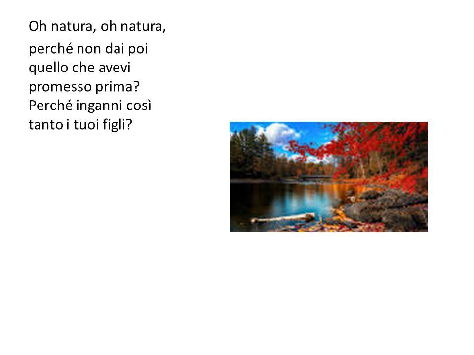 Oh natura, oh natura, perché non dai poi quello che avevi promesso prima.